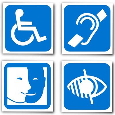 Pictogrammes représentant différents types de handicaps